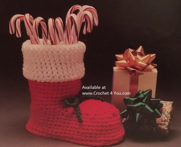 crochet christmas boot pattern