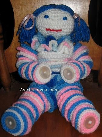 crochet button clown
