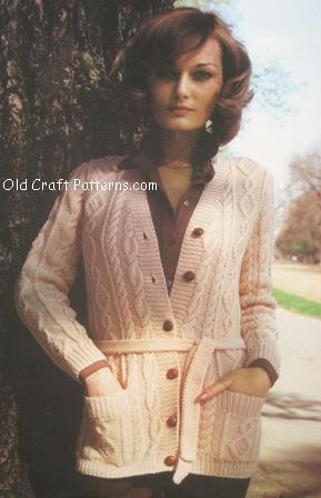Aran Isles Cardigan Vintage Knit Pattern   Knitting Bee