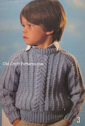 Childs Aran Jumper Knitting Pattern : childrens kids youngsters original knitting patterns at www.crochet4you.com