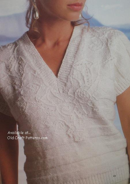 Amazing Knitting Patterns : Patons 492 Springtime Ladies Sweaters using Cotton Club Yarn or equivalent ...