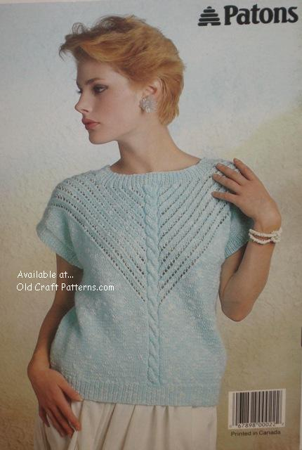 Patons 492 Springtime Ladies Sweaters using Cotton Club Yarn or equivalent ...