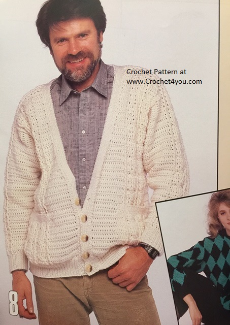 mens aran crochet sweater