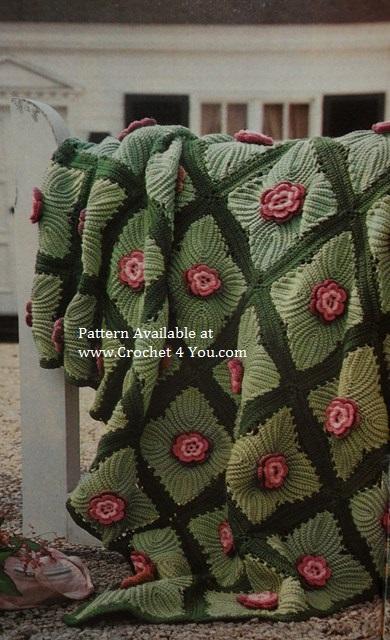 Crocheted Roses Afghan