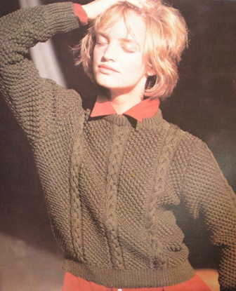 popcorn aran sweater
