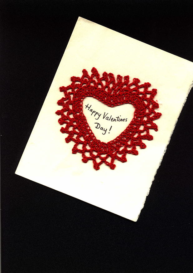 free crochet valentine card pattern with lots of crocheted