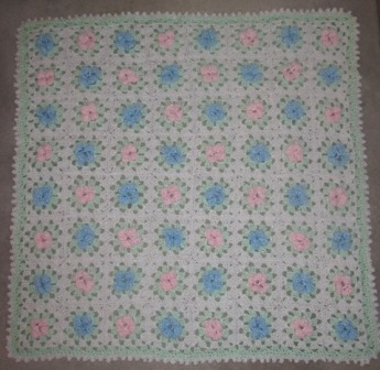 Feather and Fan Lace pattern Baby Blanketafghans, knit